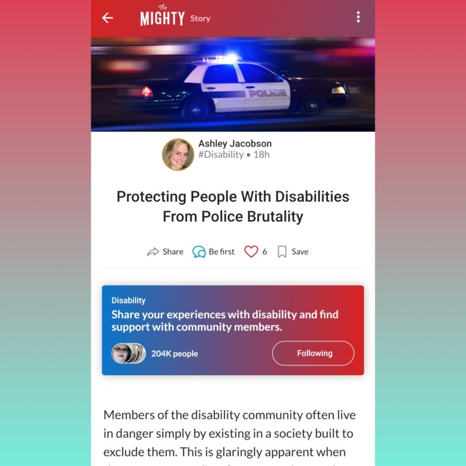 """[Image description (Alt text also provided in the image): a screenshot of the article, bordered in red and teal, titled """"Protecting People with Disabilities from Police Brutality.""""]"""